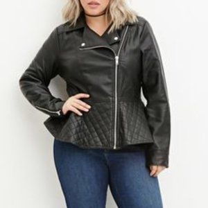 Forever21 Guilted Peplum Faux Leather Jacket